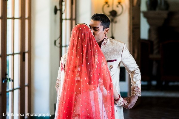 First Look in Santa Susana, CA Indian Wedding by Lin & Jirsa Photography