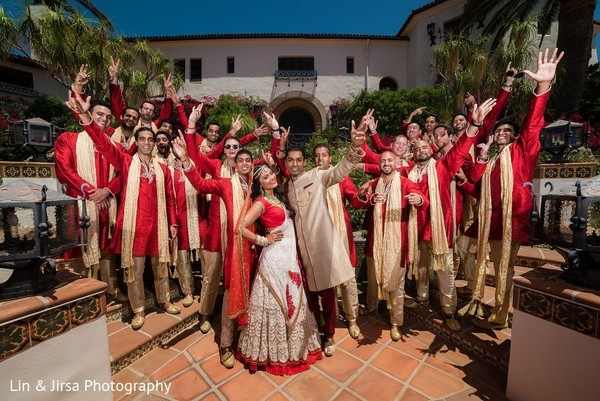Groomsmen Portrait in Santa Susana, CA Indian Wedding by Lin & Jirsa Photography