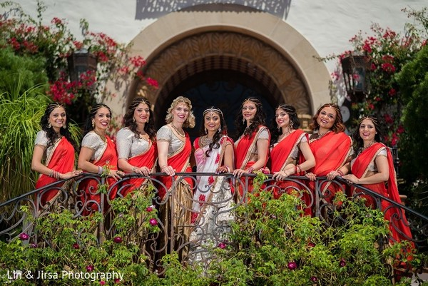 Bridal Party Portrait in Santa Susana, CA Indian Wedding by Lin & Jirsa Photography