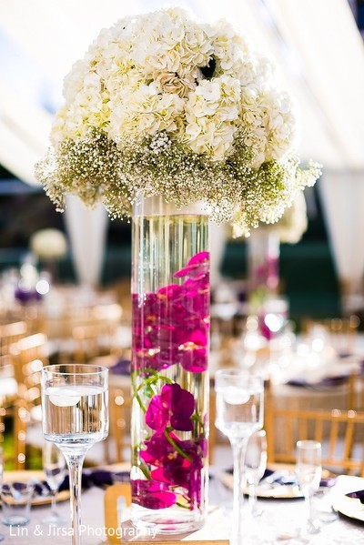 Centerpiece in Santa Susana, CA Indian Wedding by Lin & Jirsa Photography