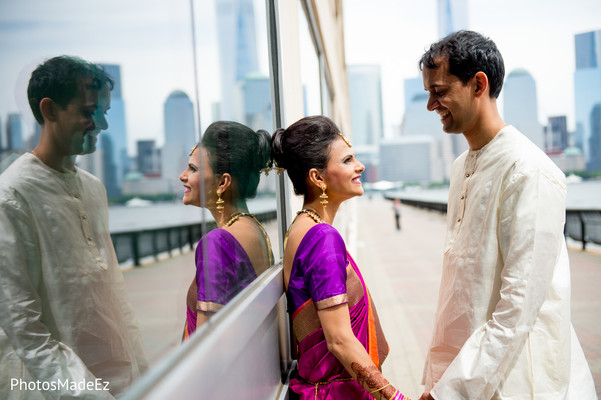First Look in Jersey City, NJ Indian Wedding by PhotosMadeEz