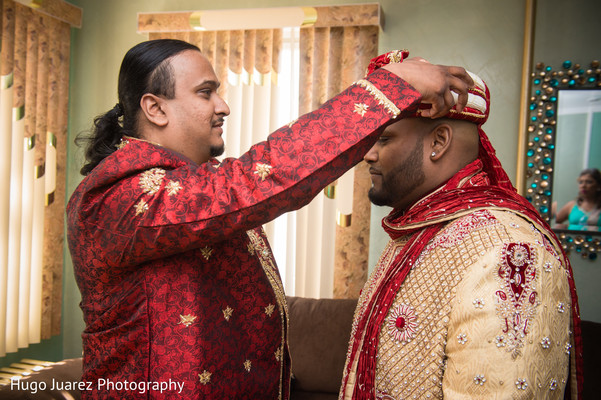 Groom Getting Ready in Woodbury, NY Indian Wedding by Hugo Juarez Photography