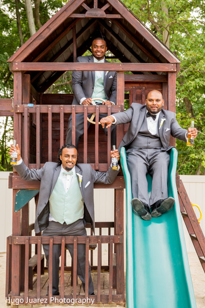 Groomsmen Portrait in Woodbury, NY Indian Wedding by Hugo Juarez Photography
