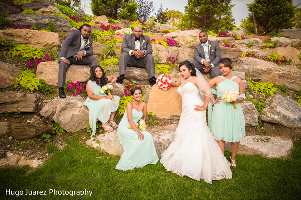 Wedding Party Portrait in Woodbury, NY Indian Wedding by Hugo Juarez Photography