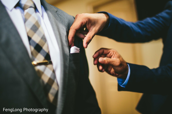 Groom Getting Ready in Atlanta, GA South Asian Wedding by FengLong Photography