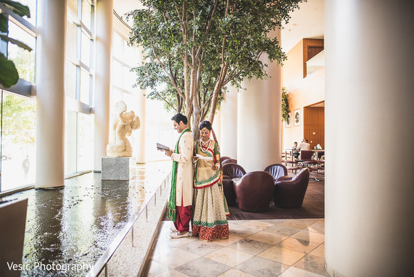 First Look Portraits in Charlotte, NC Indian Wedding by Vesic Photography