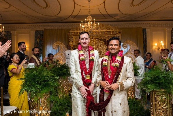Ceremony in Boston, MA Indian Fusion Wedding by Thuy Pham Photography