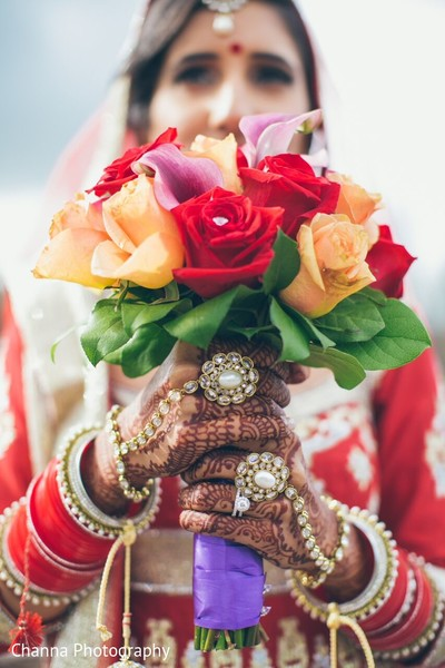 Bridal Bouquet in Toronto, Canada Sikh Indian Wedding by Channa Photography
