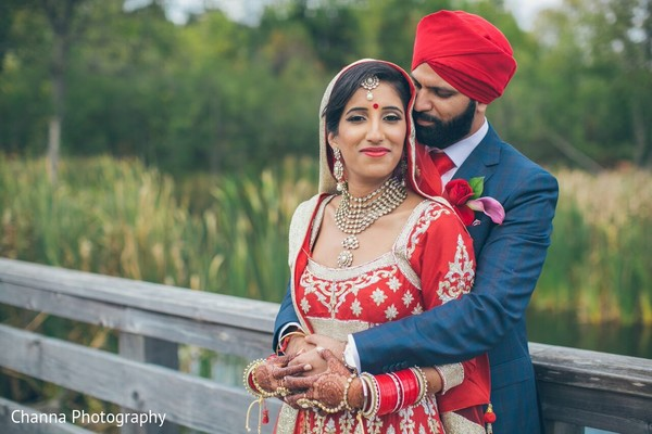 First Look Portrait in Toronto, Canada Sikh Indian Wedding by Channa Photography