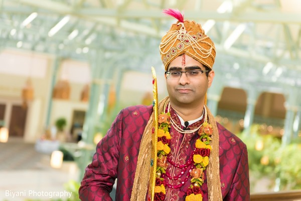 Groom Portrait in Houston, TX Indian Wedding by Biyani Photography