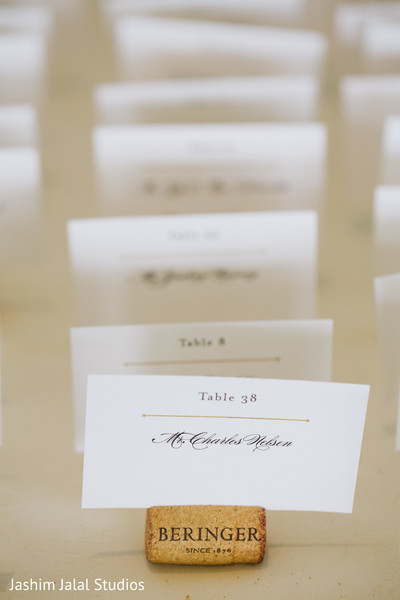 Place cards in New Rochelle, NY Hindu Fusion Wedding by Jashim Jalal Studios