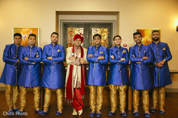 Groomsmen Portrait in Norwalk, CA Indian Wedding by Chico Photo