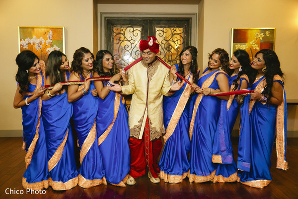 Bridal Party Portrait in Norwalk, CA Indian Wedding by Chico Photo