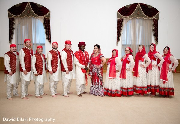 Wedding Party Portrait in Fremont, CA Sikh Fusion Wedding by Dawid Bilski Photography