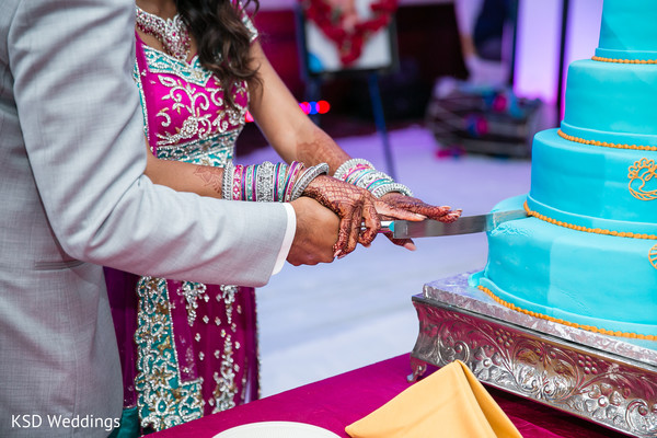 Cake Cutting in Danbury, CT Indian Wedding by KSD Weddings