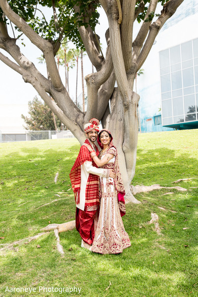 First Look in Long Beach, CA Indian Wedding by Aaroneye Photography