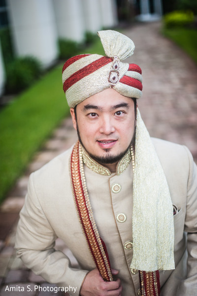 Groom Portrait in Orlando, FL Indian Fusion Wedding by Amita S. Photography