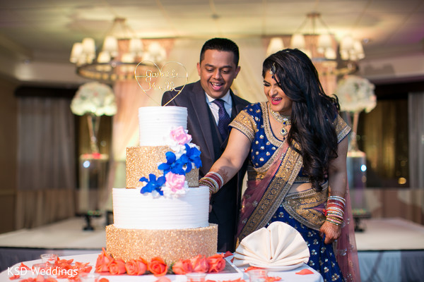 Cake Cutting in Mahwah, NJ Indian Wedding by KSD Weddings