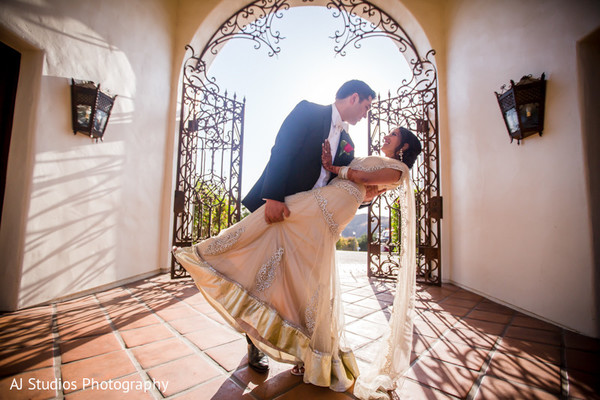 Reception Portrait in Malibu, CA South Indian Fusion Wedding by AJ Studios Photography