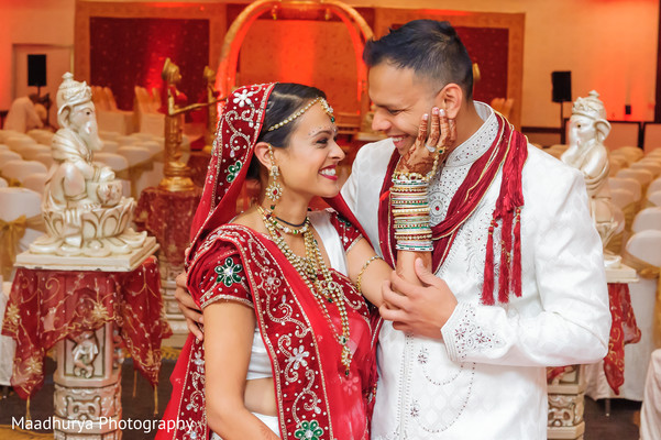 First Look in Raleigh, NC Indian Wedding by Maadhurya Photography