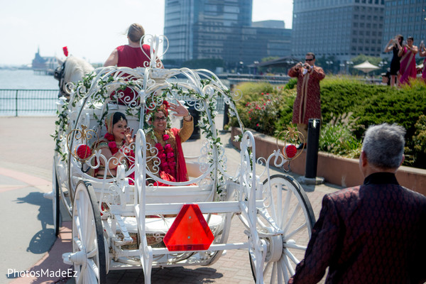Carriage in Jersey City, NJ Indian Wedding by PhotosMadeEz