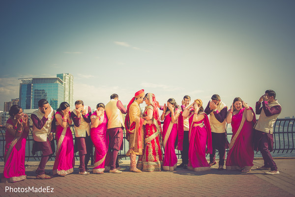 Bridal Party Portraits in Jersey City, NJ Indian Wedding by PhotosMadeEz