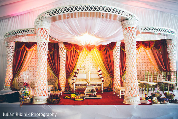 Mandap in Greenwich, CT Indian Wedding by Julian Ribinik Photography