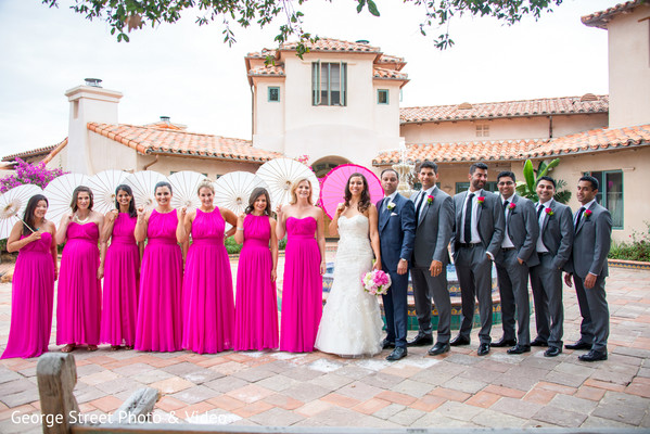 Wedding Party Portrait in Malibu, CA Indian Fusion Wedding by George Street Photo & Video