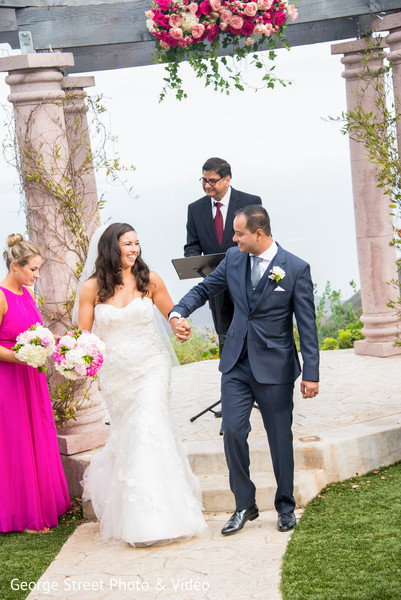 Ceremony in Malibu, CA Indian Fusion Wedding by George Street Photo & Video