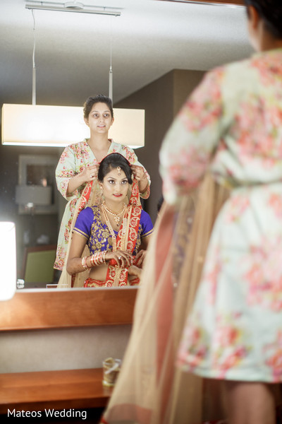 Getting Ready in Chicago, IL Indian Wedding by Mateos Wedding