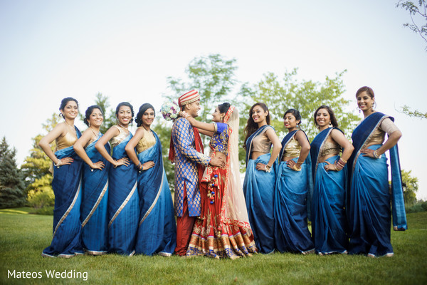 indian bridal party,indian wedding party,indian wedding party portraits,indian bridesmaids,indian sari,indian bridesmaid outfits
