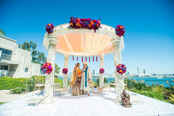 Mandap in Coronado, CA Indian Wedding by Aaroneye Photography