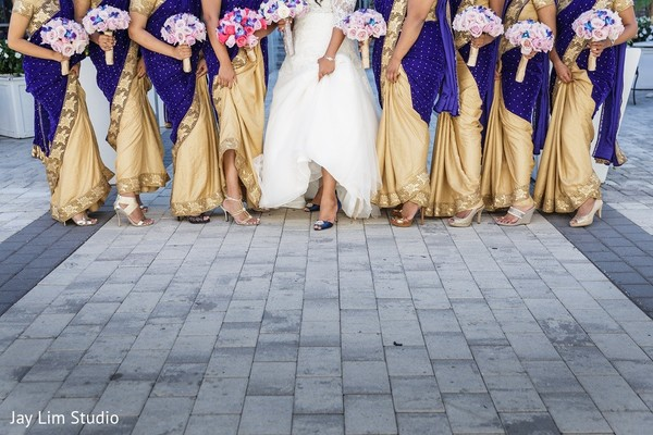 Bridal Party in Carle Place, NY Indian Wedding by Jay Lim Studio