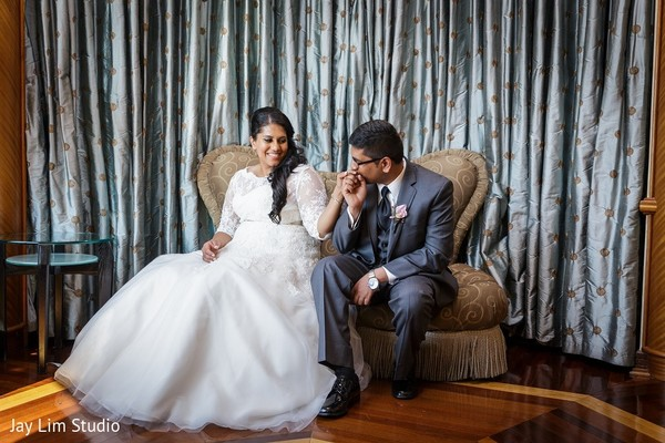 Reception Portrait in Carle Place, NY Indian Wedding by Jay Lim Studio