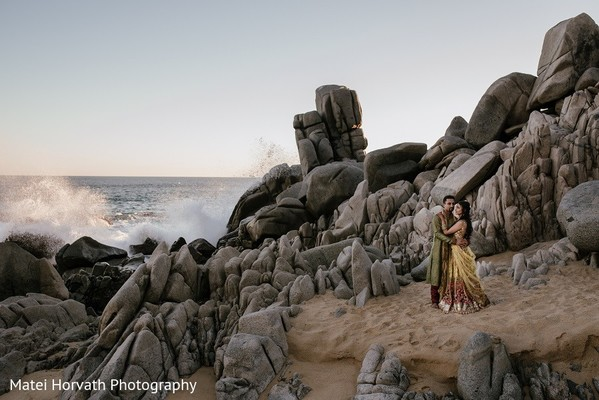 Pre-Wedding Portrait in Cabo San Lucas, Mexico Indian Destination Wedding by Matei Horvath Photography