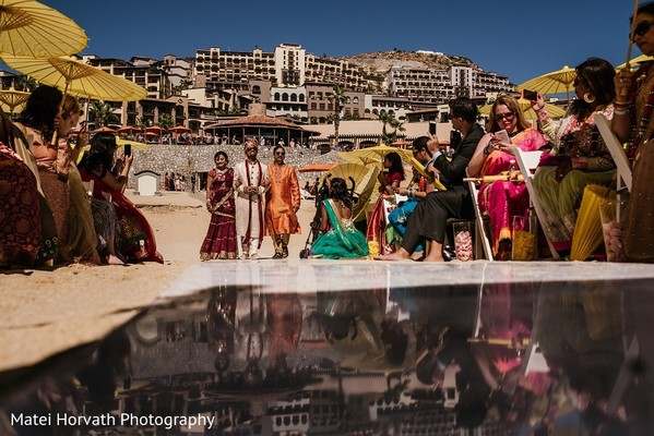 Ceremony in Cabo San Lucas, Mexico Indian Destination Wedding by Matei Horvath Photography