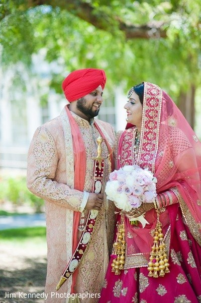 First Look in Westlake Village, CA Sikh Wedding by Jim Kennedy Photographers
