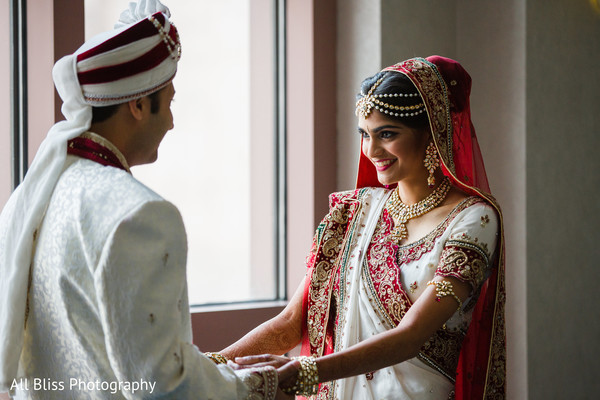 First Look in Charlotte, NC Indian Wedding by All Bliss Photography