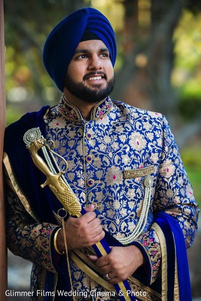 Groom Portrait in Fremont, CA Sikh Wedding by Glimmer Films Wedding Cinema & Photo