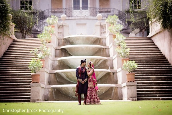 First Look in Roswell, GA South Asian Fusion Wedding by Christopher Brock Photography