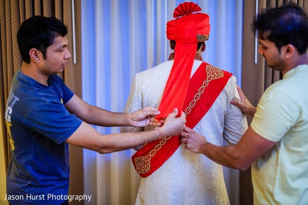 Groom Getting Ready in Savannah, GA Indian Wedding by Jason Hurst Photography