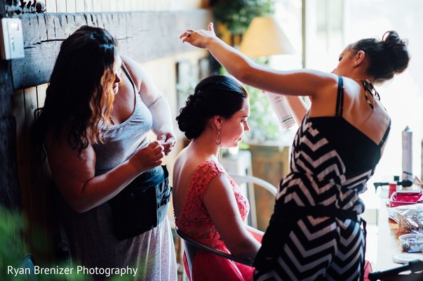 Getting ready in Shokan, New York Fusion Wedding by Ryan Brenizer Photography