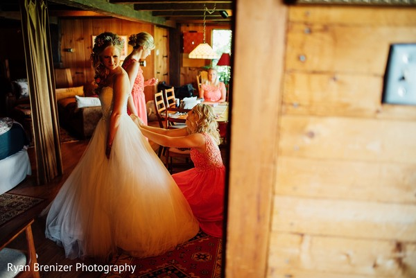 Bride Getting Ready in Shokan, New York Fusion Wedding by Ryan Brenizer Photography