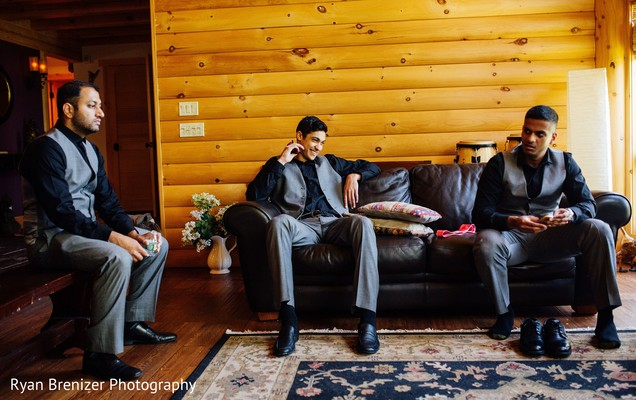 Groom Getting Ready in Shokan, New York Fusion Wedding by Ryan Brenizer Photography