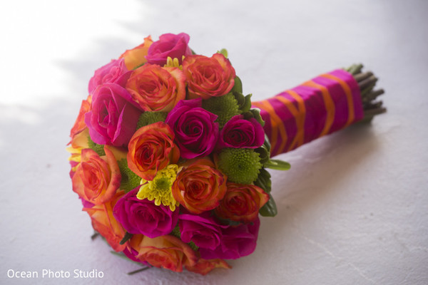 Bouquet in Riviera Maya, Mexico Pakistani Destination Wedding by Ocean Photo Studio
