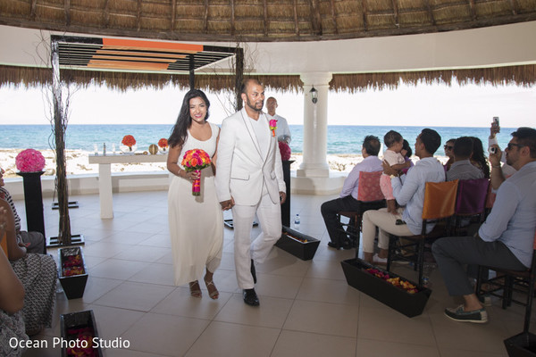 Ceremony in Riviera Maya, Mexico Pakistani Destination Wedding by Ocean Photo Studio