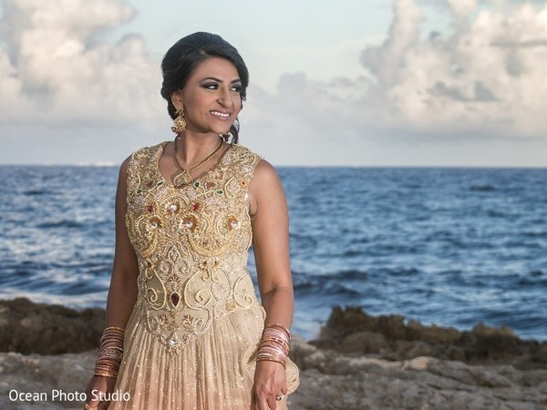 Reception Portrait in Riviera Maya, Mexico Pakistani Destination Wedding by Ocean Photo Studio
