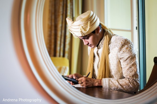 Groom Getting Ready in Rancho Palos Verdes Indian Fusion Wedding by Andrena Photography