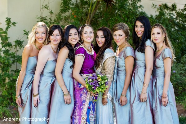 Bridal Party in Rancho Palos Verdes Indian Fusion Wedding by Andrena Photography