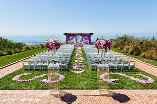 Ceremony Decor in Rancho Palos Verdes Indian Fusion Wedding by Andrena Photography